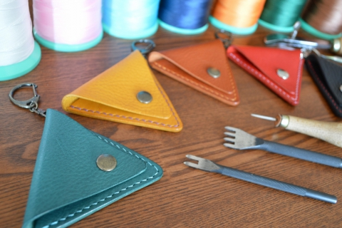 Leather Craft Trial Class Triangle Coin Purse